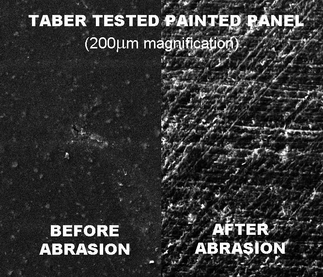 Taber磨耗测试前后样品对比